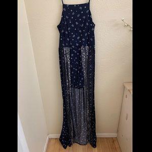 Paisley Navy Blue Romper Dress